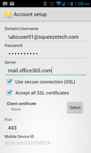 Setup office 365 on android - Email settings for office 365 ...