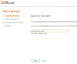 Configuring a Domain in Office 365 step 2
