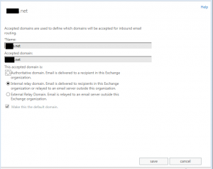 Set Internal Relay Domain Office 365